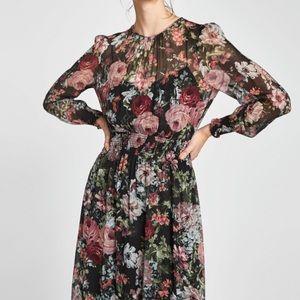 Zara floral print long sleeve midi dress NWT Sz S
